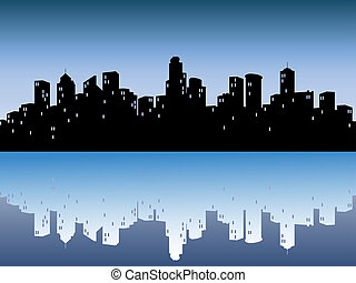 urban, skylines, reflektion