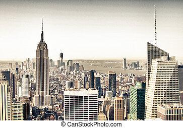 Urban skyscrapers, New York City skyline. Manhattan