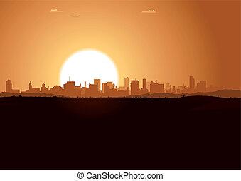 urban, soluppgång, landskap