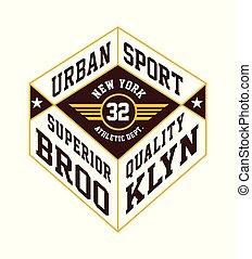 Urban Sport Brooklyn Typography Design T-shirt Graphic