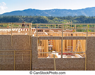 Urban sprawl house construction in nature scenery