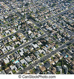 Urban sprawl houses.