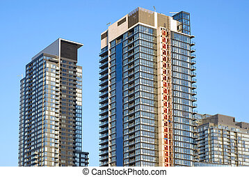 urban, stad, nymodig, -, condominia., landskap