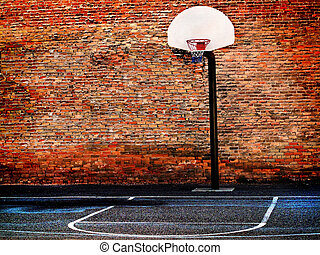 Urban Street Basketball Court and Hoop - Detail of urban...