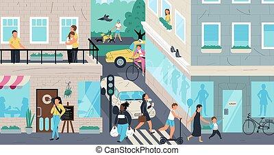 Urban street scene, people living in city, vector illustration