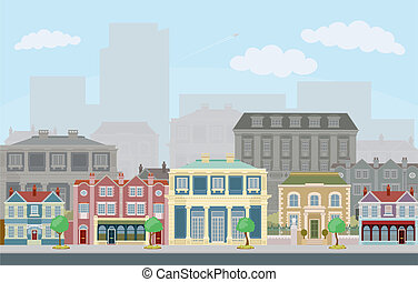 Urban street scene with smart townhouses - An urban street...