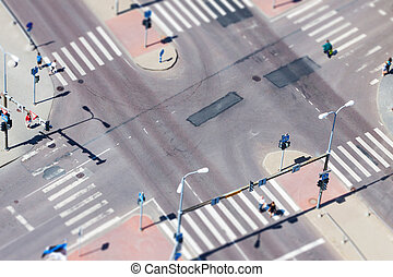 Urban street traffic and pedestrian crossing