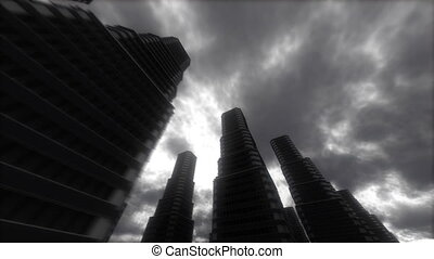 Urban Stroll. Skyscrapers. - Abstract Stylized Big City...