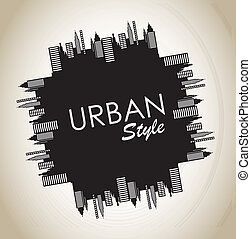 Urban style vintage over grunge background vector illustration