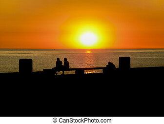 Urban Sunset Silhouette Coastal Scene