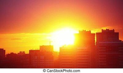 Urban Sunset Timelapse. 3840x2160 4k