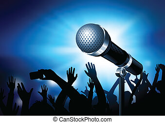 Urban Superstar - A microphone gleaming with an audience in...