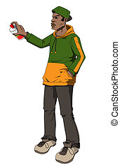 Urban Teen - Cartoon illustration of a male figure holding a...