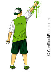 Urban Teen - Cartoon illustration of male figure drawing...