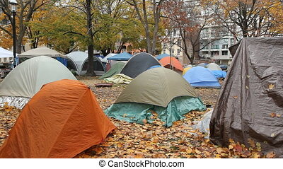 Urban tents. - Tents in St. James Park in Toronto, as part...