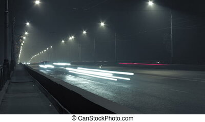 urban timelapse bridge traffic lights at night. Krasnoyarsk, Russia. HD 1080p