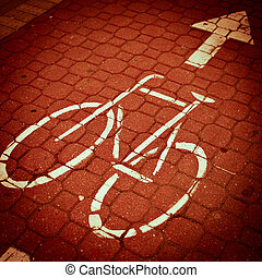 urban traffic concept - bike/cycling lane in a city