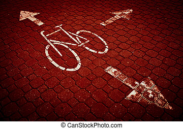 urban traffic concept - bike/cycling lane in a city