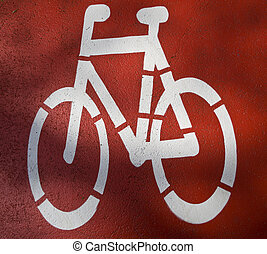 urban traffic concept - bike/cycling lane sign in a city