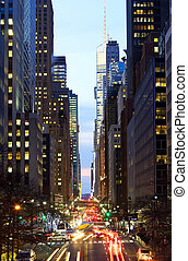 Urban Traffic - New York City Manhattan street view with...