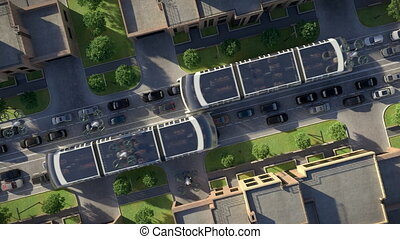 Urban traffic of the future. Top view. 3d animation. 4K -...