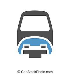 Urban transport icon - Monorail train - gray blue icon...