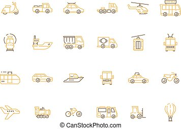 Urban transport icon. Public vehicles taxi motorcycle planes boats helicopter car train vector outline pictures