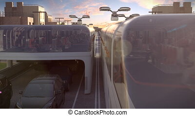 Urban transport of the future. View of the sunset. 3d...
