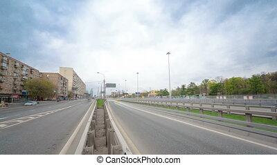urban transport traffic on Leningradskoye shosse timelapse, Moscow