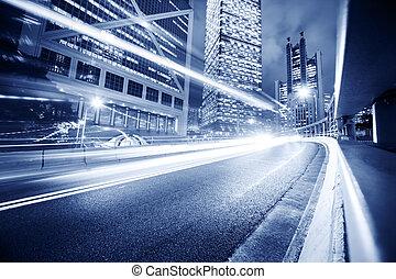 Urban transportation background - Fast moving cars lights...