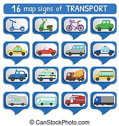 Urban transport's map sign set
