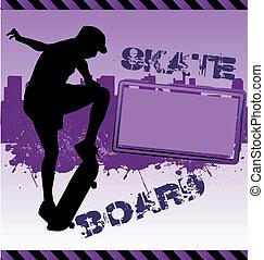 Urban vector composition with city skyline adn skateboarder