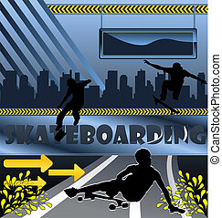 Urban vector composition with city skyline an skateboarder silouetthes