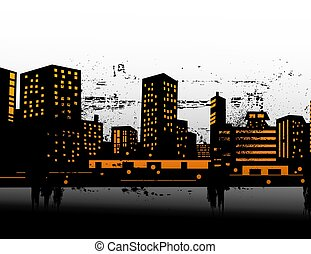 urban, vektor, skylines, illustration
