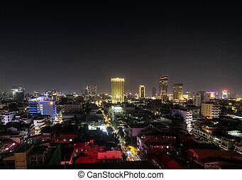 central phnom penh city skyline in cambodia at night