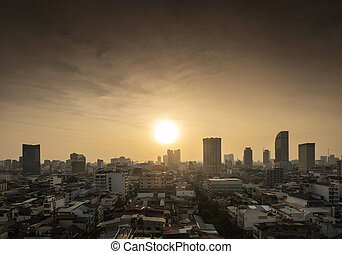 central phnom penh city skyline in cambodia at sunset