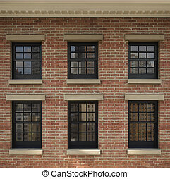 Urban Windows - Six windows on the side of a building with...