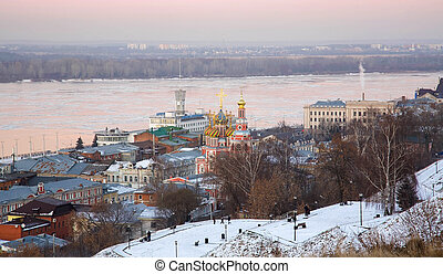 Urban winter landscape of Nizhny Novgorod at sunset