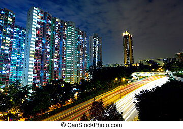 urban with traffic at night