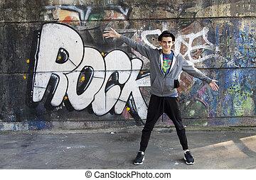 urban young woman dancing