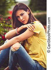 urban young woman portrait