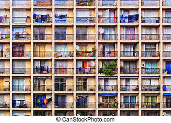 Urbanisation - A digital painting of a block of flats in the...