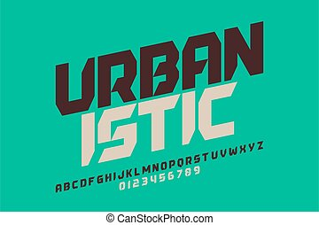 Urbanism style font design, alphabet letters and numbers vector illustration