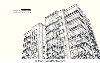 Urbanistic skyscraper. Abstract 3D render of building wire frame structure. Vector construction graphic idea for template design.Modern Building.Perspective city wiev, wide angle.