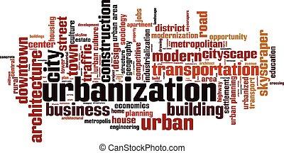 urbanizáció, szó, felhő