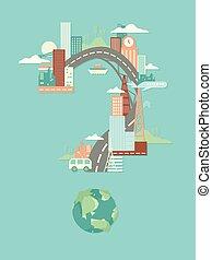 urbanização, pergunta, ilustração, marca