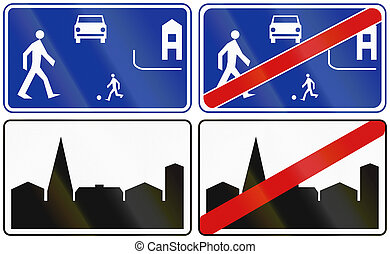 urbanizado, área, y, vida, calle, en, polonia