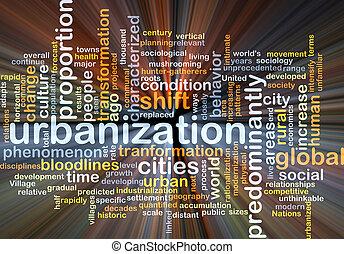 Urbanization background concept glowing - Background concept...