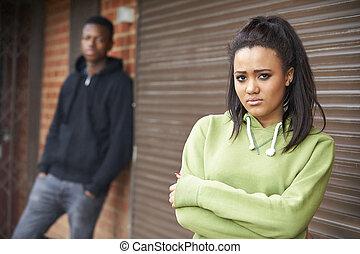 urbano, adolescente, armando, par, infeliz