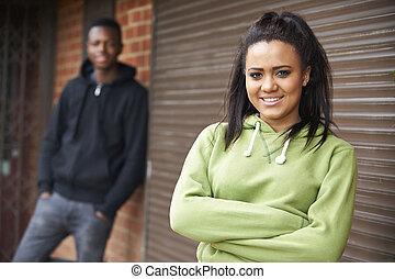 urbano, adolescente, armando, retrato pares